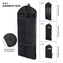 Load image into Gallery viewer, Select nice wanapure 60 54 43 garment bags 3 in 1 suit bag with 2 large mesh shoe pockets and accessories pocket trifold suit cover for dress coat jacket closet storage or travel set of 2 black