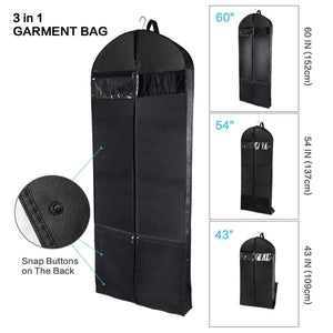Select nice wanapure 60 54 43 garment bags 3 in 1 suit bag with 2 large mesh shoe pockets and accessories pocket trifold suit cover for dress coat jacket closet storage or travel set of 2 black