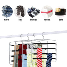 Load image into Gallery viewer, Storage organizer homeideas pack of 4 non slip pants hangers stainless steel slack hangers space saving clothes hangers closet organizer with foam padded swing arm multi layers rotatable hook 1