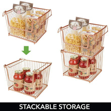 Load image into Gallery viewer, Results mdesign modern stackable metal storage organizer bin basket with handles open front for kitchen cabinets pantry closets bedrooms bathrooms large 6 pack copper