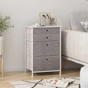 Home langria faux linen home dresser storage tower with 4 easy pull drawers sturdy metal frame and wooden tabletop perfect organizer for guest room dorm room closet hallway office area gray