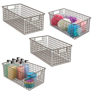 Storage mdesign farmhouse decor metal wire bathroom organizer storage bin basket for cabinets shelves countertops bedroom kitchen laundry room closet garage 16 x 9 x 6 in 4 pack bronze