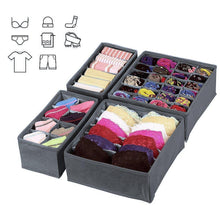 Load image into Gallery viewer, Online shopping titan mall closet underwear organizer drawer foldable storage box drawer dividers dresser drawer organizers for underwear bras grey set of 4 dark grey