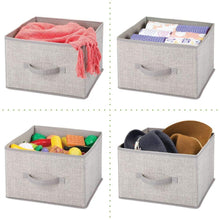 Load image into Gallery viewer, Save mdesign soft fabric closet storage organizer holder cube bin box open top front handle for closet bedroom bathroom entryway office textured print 2 pack linen tan