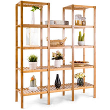 Load image into Gallery viewer, Featured costway bamboo utility shelf bathroom rack plant display stand 5 tier storage organizer rack cube w several cell closet storage cabinet 12 pots