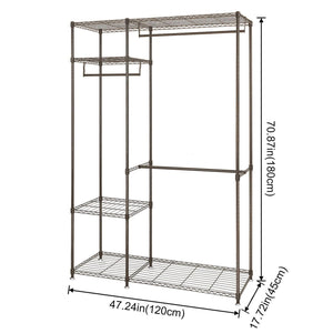 Home lifewit portable wardrobe clothes closet storage organizer with hanging rod adjustable legs quick and easy to assemble large capacity dark brown