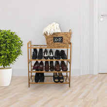 Load image into Gallery viewer, Buy now sorbus bamboo shoe rack 4 tier shoes rack organizer perfect bench for hallway entryway mudroom closet bedroom etc