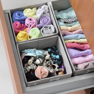 Latest foldable cloth storage box closet dresser drawer organizer cube basket bins containers divider with drawers for underwear bras socks ties scarves set of 6 light coffee with white lantern pattern
