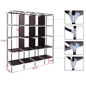 Shop for songmics 67 inch wardrobe armoire closet clothes storage rack 12 shelves 4 side pockets quick and easy to assemble brown uryg44k
