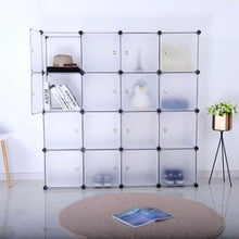 Load image into Gallery viewer, Budget bastuo 16 cubes diy storage cabinet clothes wardrobe closet bookcase shelf baskets modular cubes closet for toys books clothes white with doors