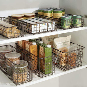 Heavy duty mdesign farmhouse decor metal wire food organizer storage bin basket with handles for kitchen cabinets pantry bathroom laundry room closets garage 16 x 9 x 6 in 8 pack bronze