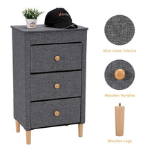 Load image into Gallery viewer, Heavy duty kamiler 3 drawer dresser nightstand beside table end table storage organizer tower unit for bedroom hallway entryway closets removable fabric bins no tool required to assemble