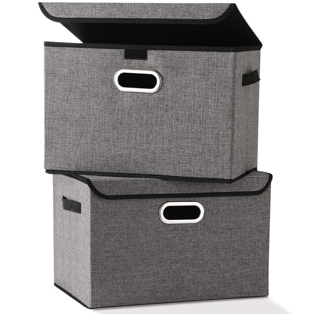 Buy large foldable storage box bin with lids2 pack no smell stackable linen fabric storage container organizers with handles for home bedroom closet nursery office gray color