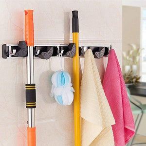 Budget friendly gwhole mop and broom holder 4 position 5 hooks wall mount rack for home closet garden garage and shed