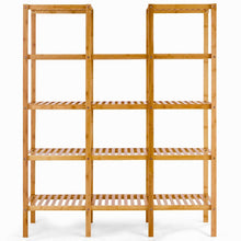 Load image into Gallery viewer, Get costway bamboo utility shelf bathroom rack plant display stand 5 tier storage organizer rack cube w several cell closet storage cabinet 12 pots
