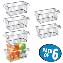 Load image into Gallery viewer, Order now mdesign household stackable metal wire storage organizer bin basket with built in handles for kitchen cabinets pantry closets bedrooms bathrooms 12 5 wide 6 pack silver