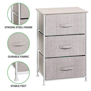 Storage organizer mdesign vertical dresser storage tower sturdy steel frame wood top easy pull fabric bins organizer unit for bedroom hallway entryway closets textured print 3 drawers linen natural
