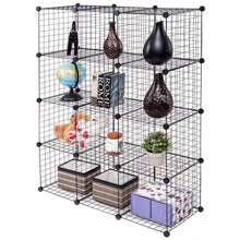 Load image into Gallery viewer, Top tangkula wire storage cubes metal wire free standing modular shelving grids diy bookcase closet wardrobe organization storage cubes 12 cubes