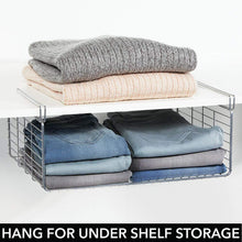 Load image into Gallery viewer, Great mdesign modern versatile metal closet cabinet organizer storage 2 tier shelf divider and separator for bedrooms bathrooms entryways hallways kitchen pantry office easy install 2 pack chrome