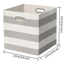 Load image into Gallery viewer, Online shopping posprica storage bins storage cubes 13 13 fabric storage boxes baskets containers drawers for nurseries offices closets home decor 4pcs grey white striped