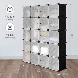 Heavy duty langria 20 storage cube organizer wardrobe modular closet plastic cabinet cubby shelving storage drawer unit diy modular bookcase closet system with doors for clothes shoes toys black and white