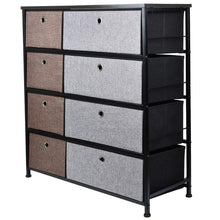 Load image into Gallery viewer, Save on extra wide fabric storage organizer mixed colors clothes drawer dresser with sturdy steel frame wooden tabletop easy pull fabric bins organizer unit for bedroom hallway entryway closet 8drawers
