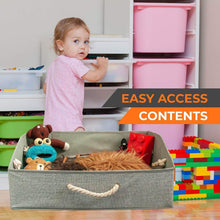 Load image into Gallery viewer, Try fabric storage bins linen closet organizers and storage boxes for shelves home storage baskets for organizing 4 pc grey storage box organizers collapsible storage bins playroom organization bins