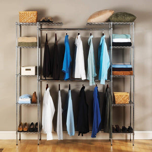 Latest seville classics double rod expandable clothes rack closet organizer system 58 to 83 w x 14 d x 72 ultrazinc
