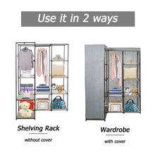 Load image into Gallery viewer, Products dporticus portable corner clothes closet wardrobe storage organizer with metal shelves and dustproof non woven fabric cover in gray