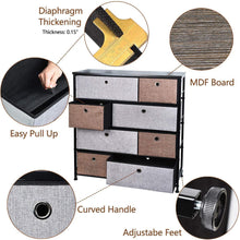 Load image into Gallery viewer, Shop for extra wide fabric storage organizer mixed colors clothes drawer dresser with sturdy steel frame wooden tabletop easy pull fabric bins organizer unit for bedroom hallway entryway closet 8drawers