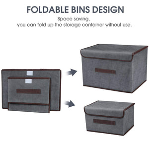 Home foldable storage boxes with lids 2 set of linen fabric cubes with handles for shelf closet book kid toy nursery organize grey