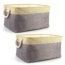 Load image into Gallery viewer, Amazon tosnail 2 pack linen storage baskets with drawstring cover top fabric storage bin organizer for home closet shelves cabinet storage