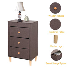 Load image into Gallery viewer, Top itidy 3 drawer dresser premium linen fabric nightstand bedside table end table storage drawer chest for nursery closet bedroom and bathroom storage drawer unit no tool requried to assemble brown