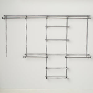 Budget rubbermaid configurations deluxe custom closet organizer system kit 4 to 8 foot titanium fg3h8900titnm