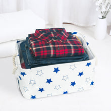 Load image into Gallery viewer, Shop here storage bin zonyon rectangular collapsible linen foldable storage container baby basket hamper organizer with rope handles for boys girls kids toys office bedroom closet gift basket blue star