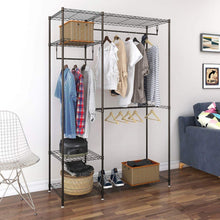 Load image into Gallery viewer, Kitchen lifewit portable wardrobe clothes closet storage organizer with hanging rod adjustable legs quick and easy to assemble large capacity dark brown