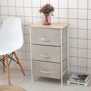 Save on leaf house fabric 3 drawer storage organizer unit nightstand for nursery closet bedroom bathroom entryway beige no tools required