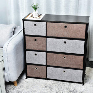 Select nice extra wide fabric storage organizer mixed colors clothes drawer dresser with sturdy steel frame wooden tabletop easy pull fabric bins organizer unit for bedroom hallway entryway closet 8drawers