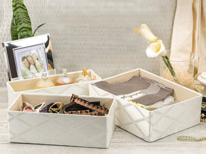 Organize with foldable closet drawer organizer set of 3 storage containers moisture and dust proof storage baskets beautiful textured fabric sturdy build perfect for home and office galliana