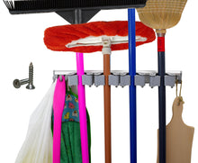 Load image into Gallery viewer, Save on not yet another mop broom holder clips hold everything better than rollers 4 sliding grippers and 4 hooks wall mount on aluminum rack by 2 screws only tools organizer for garden garage or closet