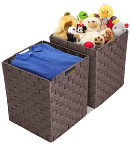 Storage organizer sorbus foldable storage cube woven basket bin set built in carry handles great for home organization nursery playroom closet dorm etc woven basket bin cubes 2 pack chocolate