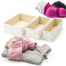 Load image into Gallery viewer, Latest foldable closet drawer organizer set of 3 storage containers moisture and dust proof storage baskets beautiful textured fabric sturdy build perfect for home and office galliana