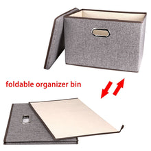 Load image into Gallery viewer, Heavy duty large linen fabric foldable storage container 2 pack with removable lid and handles storage bin box cubes organizer gray for home office nursery closet bedroom living room