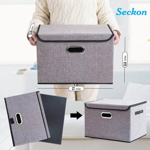 Cheap seckon collapsible storage box container bins with lids covers2pack large odorless linen fabric storage organizers cube with metal handles for office bedroom closet toys