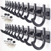 Load image into Gallery viewer, Great webi wall mounted coat rack 30 inch 10 hooks rack rail heavy duty coat hat hook for bathroom entryway closet foyer hallway black 2 packs