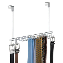 Load image into Gallery viewer, Products mdesign metal over door hanging closet storage organizer rack for mens and womens ties belts slim scarves accessories jewelry 4 hooks and 10 vertical arms on each 2 pack chrome
