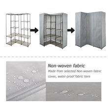 Load image into Gallery viewer, Organize with dporticus portable corner clothes closet wardrobe storage organizer with metal shelves and dustproof non woven fabric cover in gray