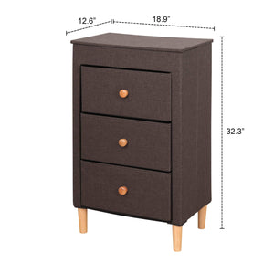 Top rated itidy 3 drawer dresser premium linen fabric nightstand bedside table end table storage drawer chest for nursery closet bedroom and bathroom storage drawer unit no tool requried to assemble brown