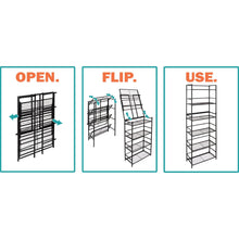 Load image into Gallery viewer, Discover the best flipshelf flipcube folding metal cube organizer small space solution no assembly home closet bathroom and office shelving black 4 cube organizer