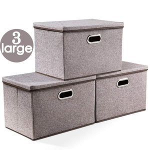 Save on prandom large collapsible storage bins with lids 3 pack linen fabric foldable storage boxes organizer containers baskets cube with cover for home bedroom closet office nursery 17 7x11 8x11 8